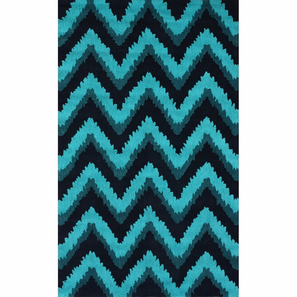 Handmade Chevron Turquoise Rug (7'6 x 9'6)