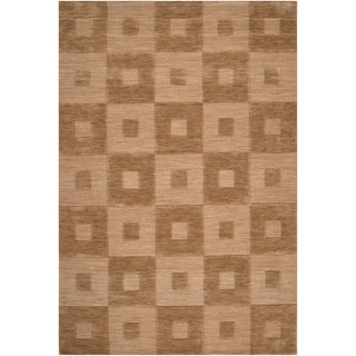 Hand-crafted Solid Light Brown Geometric Kingsland Wool Rug (2' x3')