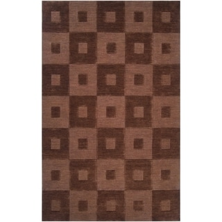 Hand-crafted Solid Brown Geometric Indus Valley Wool Rug (2' x 3')