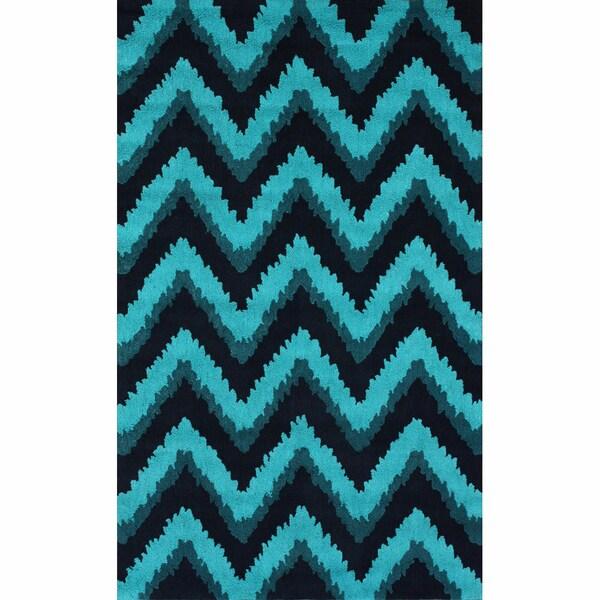 Handmade Chevron Turquoise Rug (5' x 8')