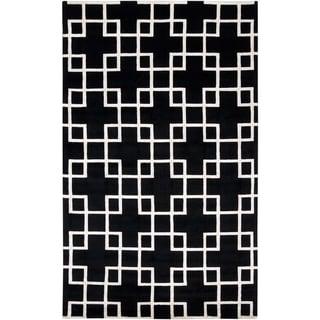 Hand-knotted Klamath Black Geometric Wool Rug (2' x 3')