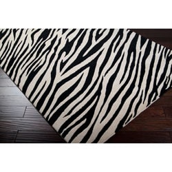 Hand-knotted Zebra Animal Print Knollwood Semi-Worsted Wool Rug (2' x 3')