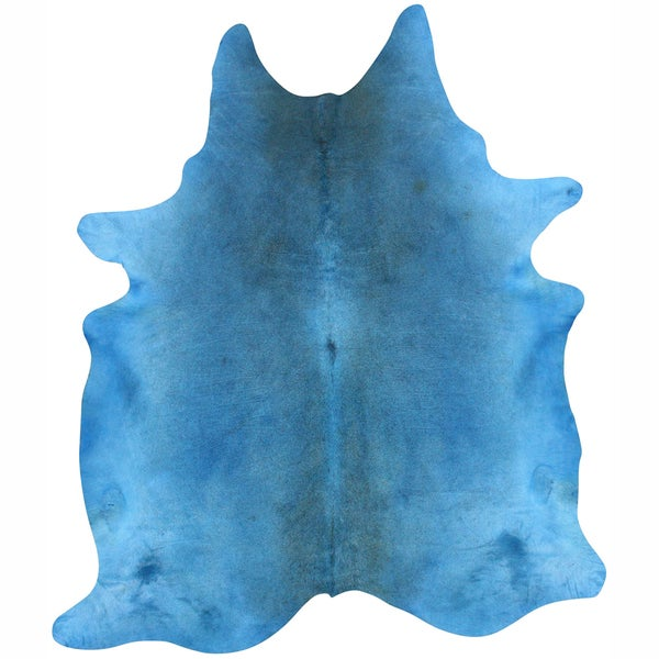 nuLOOM Hand-picked Brazilian Solid Blue Cowhide Rug (5' x 7')