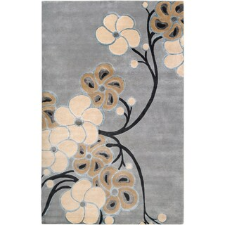 Smithsonian Collection Hand-knotted Lacostos Grey Floral Wool Rug (2' x 3')