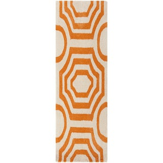 Hand-tufted Angelo Surmelis Lakehills Orange Runner Rug (2'6 x 8')