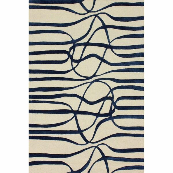 nuLOOM Handmade Curves Navy Wool/ Faux Silk Rug (5' x 8')