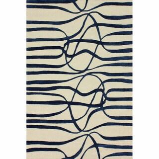 nuLOOM Handmade Curves Navy Wool/ Faux Silk Rug (7'6 x 9'6)