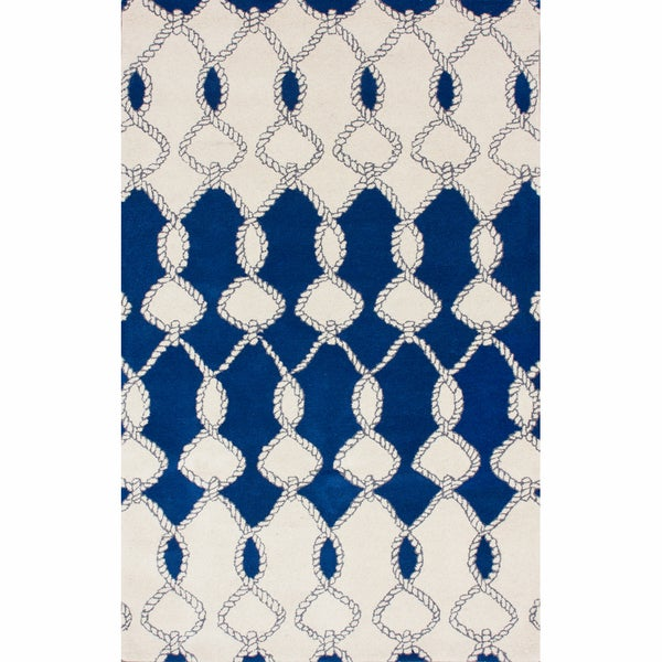 nuLOOM Handmade Twisted Trellis Blue Wool Rug (7'6 x 9'6)