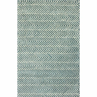 nuLOOM Handmade Chevron Light Blue Wool Rug (5' x 8')