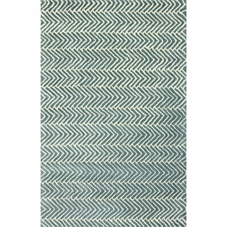 nuLOOM Handmade Chevron Light Blue Wool Rug (7'6 x 9'6)