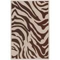 Hand-tufted Brown/White Zebra Animal Print Lipscombe Wool Rug (2' x 3')