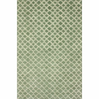 nuLOOM Handmade Moroccan Trellis Light Green Wool Rug (7'6 x 9'6)