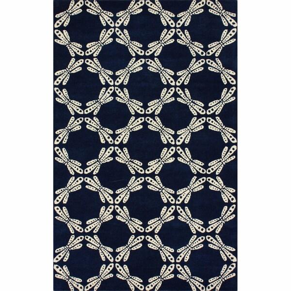 nuLOOM Handmade Ink Print Navy Wool Rug (7'6 x 9'6)