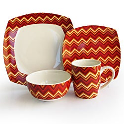 Waverly 16-piece Red Zig-Zag Earthenware Dinnerware Set