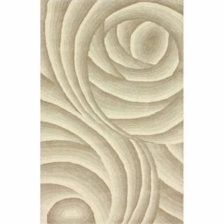 nuLOOM Handmade Swirls Natural New Zealand Wool Rug (5' x 8')