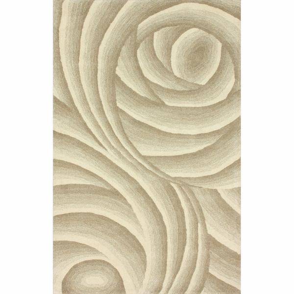 nuLOOM Handmade Swirls Natural New Zealand Wool Rug (5' x 8')
