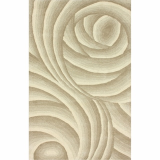 nuLOOM Handmade Swirls Natural New Zealand Wool Rug (7'6 x 9'6)
