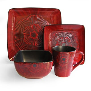 American Atelier Laurette Red Square 16 Piece Dinnerware Set