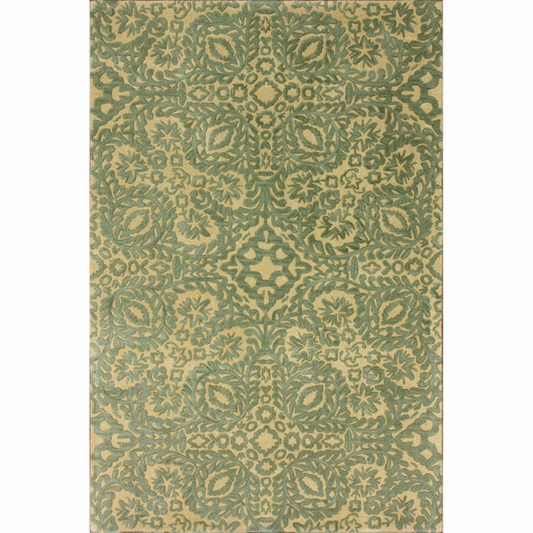 nuLOOM Handmade Lace Natural Wool Rug (7'6 x 9'6)