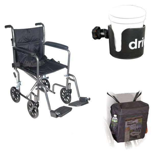 Drive Medical Mobility Safety Solution Wheelchair Cup Holder and Carry Pouch Package