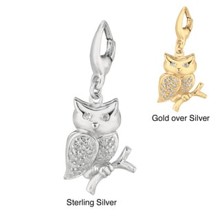 Sterling Silver White Diamond Accent Owl Charm