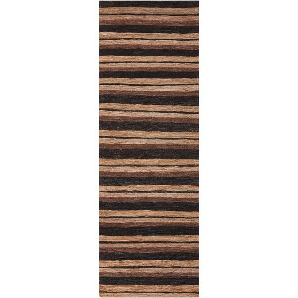 Hand-woven Newson Tan Natural Fiber Hemp Rug (2'6 x 8')