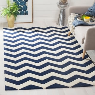 Handmade Chevron Dark Blue/ Ivory Wool Rug (4&#39; x 6&#39;)