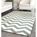 Handmade Chevron Dark Grey/ Ivory Wool Rug (6&#39; x 9&#39;)