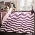 Handmade Chevron Purple/ Ivory Wool Rug (6' x 9')