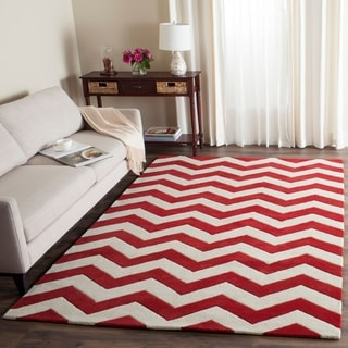 Handmade Chevron Red/ Ivory Wool Rug (4' x 6')