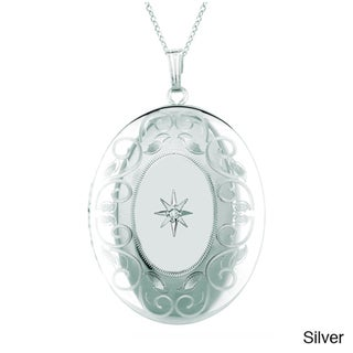 Sterling Silver Diamond Accent Oval-shaped Locket Necklace