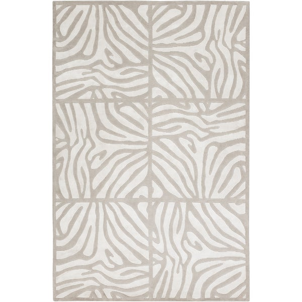 Candice Olson Hand-knotted Olmos White Animal Pattern Wool Rug (2' x 3')