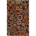 Hand-tufted Onalaksa Brown Geometric Circles Wool Rug (2' x 3')
