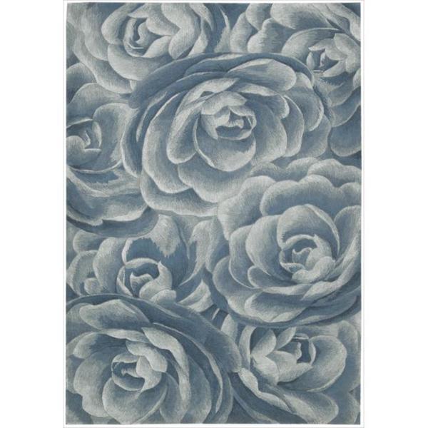 Nourison Hand-tufted Moda Light Blue Petal Rug (7'6 x 9'6)
