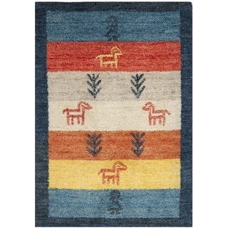 Handmade Gabeh Journey Bluel Wool Rug (2' x 3')