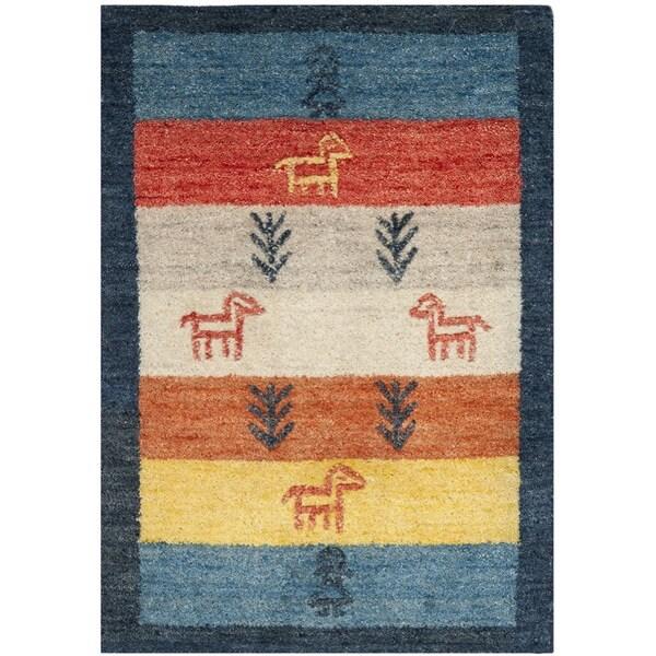 Safavieh Handmade Gabeh Journey Bluel Wool Rug (2' x 3')