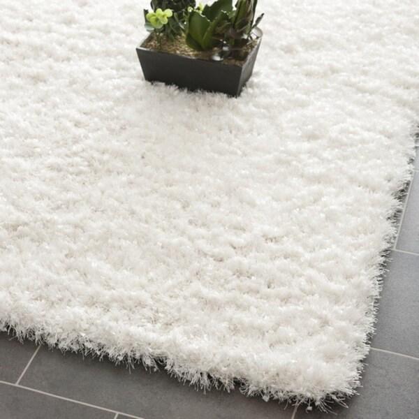 Safavieh Handmade Malibu White Shag Rug (8' 6 x 12')