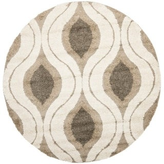 Safavieh Ultimate Cream/ Smoke Shag Rug (5' Round)