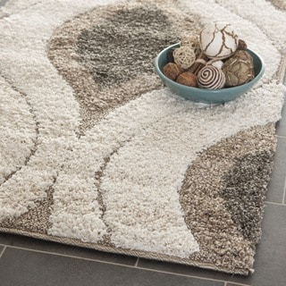 Ultimate Cream/ Smoke Shag Rug (5' Square)