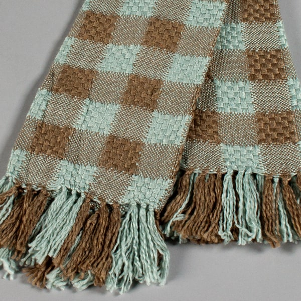 Grand Bazaar Basketweave 50 x 60 Teal / Chocolate Throw