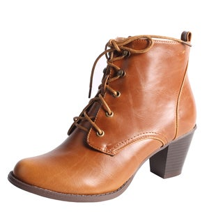 Blossom by Beston Women's 'Niche-1' Lace-up Ankle Boots