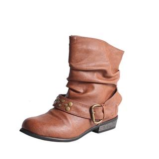 Blossom by Beston Women's 'Tess-1' Cognac Mid-Calf Boots