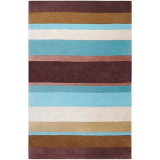 Hand-tufted Casual Brown/Blue Stripe Rug (2' x 3')