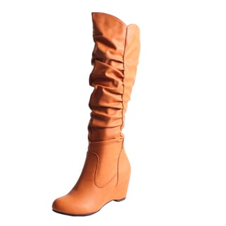 Blossom by Beston Women's 'Della-8' Knee High Wedge Boots