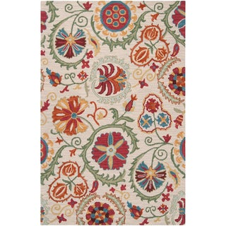 Hand-tufted Poynor White Wool Rug (2' x 3')