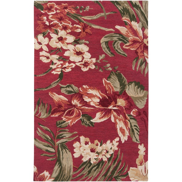 Hand-tufted Presidio Red Wool Rug (2' x 3')