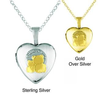 Sterling Silver 'My Little Sunshine' Teddy Bear Heart Locket Necklace