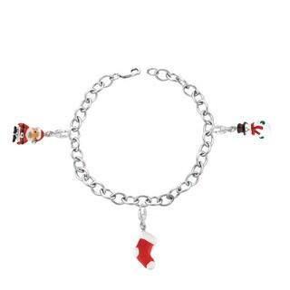 Sterling Silver Christmas Theme Charm Bracelet