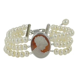 Sterling Silver White Freshwater Pearl and Red Agate Cameo 3-strand Bracelet (5-6 mm)