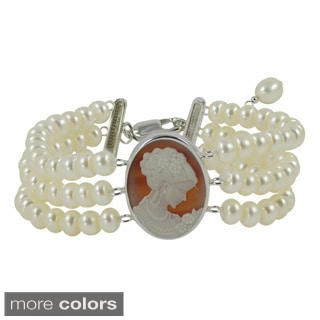 Sterling Silver White Freshwater Pearl and Agate Cameo 3-strand Bracelet (5-6 mm)